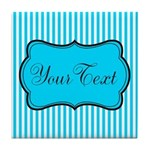 Personalizable Teal and White Tile Coaster
