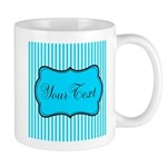 Personalizable Teal and White Mugs