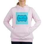 Personalizable Teal and White Women's Hooded Sweat