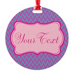 Pink and Blue Personalizable Ornament