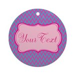 Pink and Blue Personalizable Round Ornament