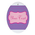 Pink and Blue Personalizable Oval Ornament