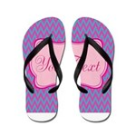 Pink and Blue Personalizable Flip Flops