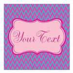 Pink and Blue Personalizable Square Car Magnet 3