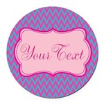 Pink and Blue Personalizable Round Car Magnet