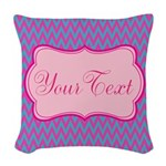 Pink and Blue Personalizable Woven Throw Pillow