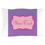 Pink and Blue Personalizable Pillow Case