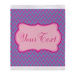 Pink and Blue Personalizable Throw Blanket