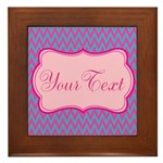 Pink and Blue Personalizable Framed Tile