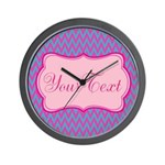 Pink and Blue Personalizable Wall Clock
