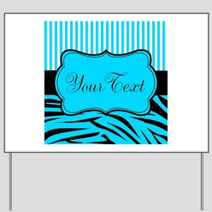 Personalizable Teal Black and White Yard Sign