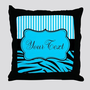 Personalizable Teal Black and White Throw Pillow