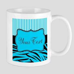 Personalizable Teal Black and White Mugs