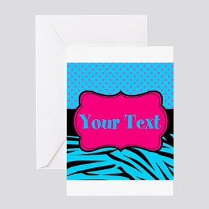 Personalizable Teal Hot pink Greeting Cards