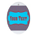 Personalizable Teal and Red Stripes Oval Ornament
