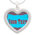Personalizable Teal and Red Stripes Necklaces