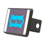 Personalizable Teal and Red Stripes Hitch Cover