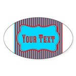 Personalizable Teal and Red Stripes Sticker