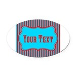 Personalizable Teal and Red Stripes Oval Car Magne