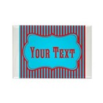 Personalizable Teal and Red Stripes Magnets