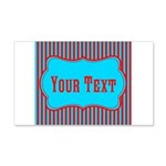 Personalizable Teal and Red Stripes Wall Decal