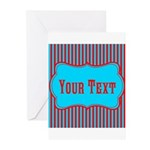 Personalizable Teal and Red Stripes Greeting Cards
