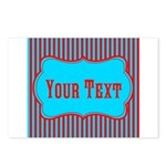 Personalizable Teal and Red Stripes Postcards (Pac