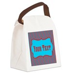 Personalizable Teal and Red Stripes Canvas Lunch B