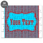 Personalizable Teal and Red Stripes Puzzle