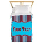 Personalizable Teal and Red Stripes Twin Duvet