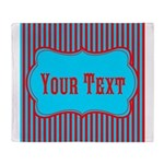 Personalizable Teal and Red Stripes Throw Blanket
