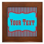 Personalizable Teal and Red Stripes Framed Tile