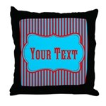 Personalizable Teal and Red Stripes Throw Pillow