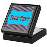 Personalizable Teal and Red Stripes Keepsake Box