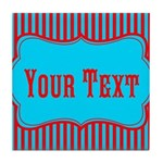 Personalizable Teal and Red Stripes Tile Coaster