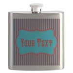 Personalizable Teal and Red Stripes Flask