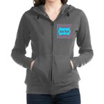 Personalizable Teal and Red Stripes Women's Zip Ho