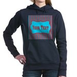 Personalizable Teal and Red Stripes Women's Hooded
