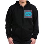 Personalizable Teal and Red Stripes Zip Hoodie