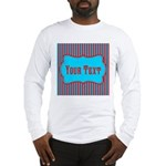 Personalizable Teal and Red Stripes Long Sleeve T-