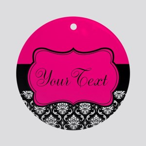 Personalizable Pink and Black Damask Round Ornamen