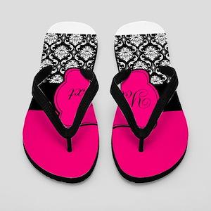 Personalizable Pink and Black Damask Flip Flops