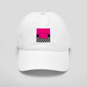 Personalizable Pink and Black Damask Baseball Cap