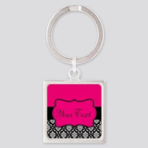 Personalizable Pink and Black Damask Keychains
