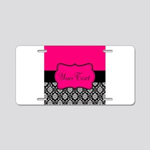 Personalizable Pink and Black Damask Aluminum Lice