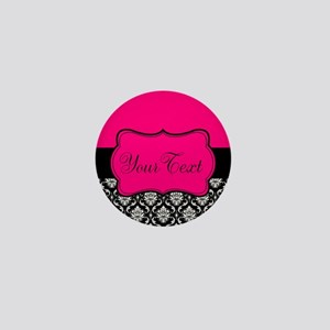 Personalizable Pink and Black Damask Mini Button