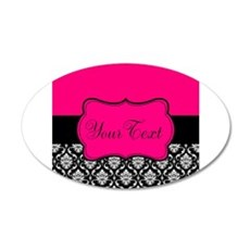 Personalizable Pink and Black Damask Wall Decal