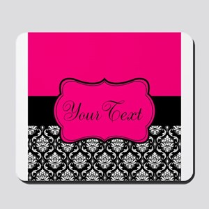 Personalizable Pink and Black Damask Mousepad