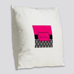Personalizable Pink and Black Damask Burlap Throw
