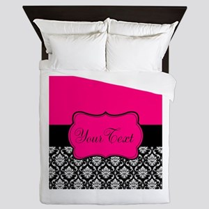 Personalizable Pink and Black Damask Queen Duvet